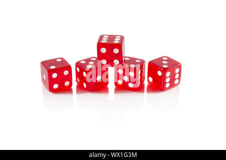 Red dice on white isolated background - Stock Photo