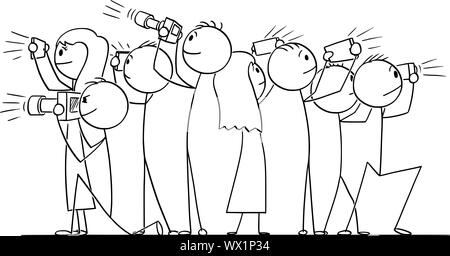 Vector cartoon stick figure drawing conceptual illustration of group of people, photographers or tourists taking pictures. - Stock Photo