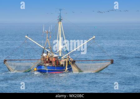 Shrimp Boat at North Sea,lower saxony,Germany - Stock Photo