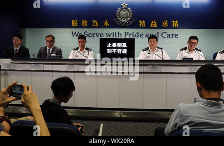 Hong Kong, China. 16th Sep, 2019. A press briefing is held by the police in south China's Hong Kong, Sept. 16, 2019. TO GO WITH '1,453 people arrested over violence in Hong Kong since June: police' Credit: Luo Huanhuan/Xinhua/Alamy Live News - Stock Photo