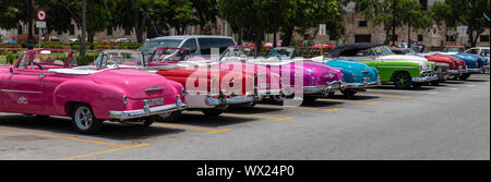 HAVANA, CUBA - JUNE  27, 2019: Traditional taxi in Havana Downtown waiting for customers in city sightseeing in authentic and stylish cars from the '6 - Stock Photo