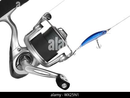Fishing Reel Over White - Stock Photo