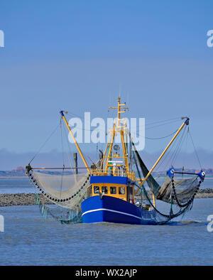 Shrimp Boat at North Sea near Neuharlingersiel,East Frisia,lower saxony,Germany - Stock Photo