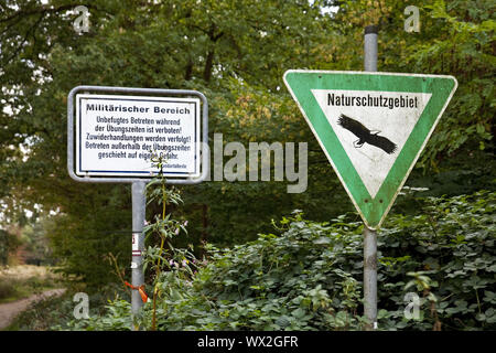 military area and nature reserve signs, Wahner Heide, Troisdorf, Germany, Europe - Stock Photo