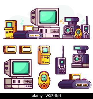 Vintage Tech and Electronic Devices Icons Set - Stock Photo
