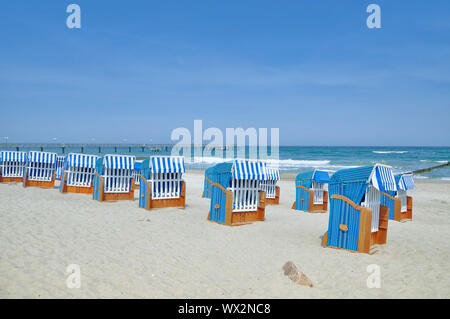 Beach of Kuehlungsborn at baltic Sea,Mecklenburg western Pomerania,Germany