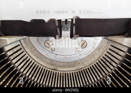 Once upon a time word typed on a vintage typewriter - Stock Photo