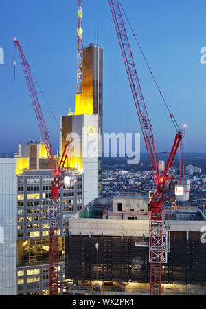construction site in the financial district next to Commerzbank in the evening, Frankfurt am Main - Stock Photo