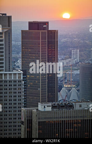 view from Maintower to financial district at sunset, Frankfurt am Main, Hesse, Germany, Europe - Stock Photo