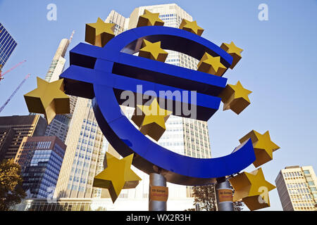 euro light sculpture, Frankfurt am Main, Hesse, Germany, Europe - Stock Photo