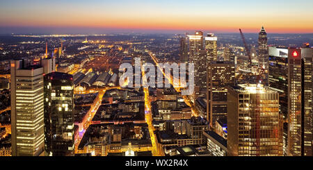 view from Main Tower to the town in the evening light, Frankfurt am Main, Hesse, Germany, Europe