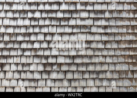 Slate covered wooden wall in Honfleur, France - Stock Photo