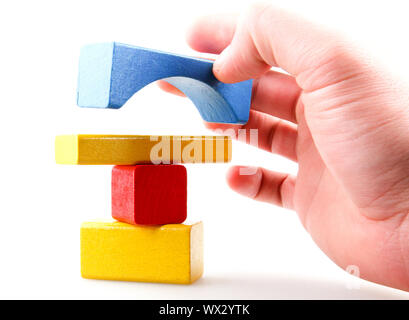 Wooden Building Blocks Set - Childrens Construction Wood Toy - Stock Photo
