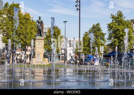 Tilburg Netherlands - September 10, 2019: Statue in Tilburg of William II (1792-1849) King of the Netherlands with water fountains in front - Stock Photo