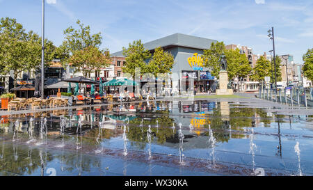 Tilburg Netherlands - September 10, 2019: Central square and Statue of William II (1792-1849) King of the Netherlands in Tilburg, Brabant - Stock Photo