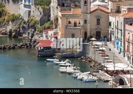 Aerial view of Lipari harbor, Aeolian Islands near Sicily, Italy - Stock Photo