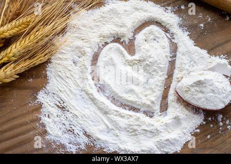Wheat and flour, vegan concept - Stock Photo