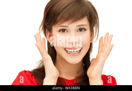 bright picture of happy teenage girl with expression of surprise - Stock Photo