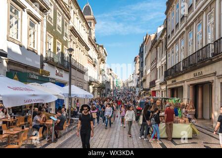 Pedestrian zone in the Baixa district of Porto - Stock Photo
