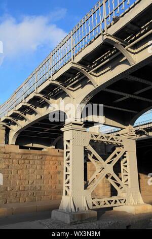 American old iron bridge on rivets - Stock Photo