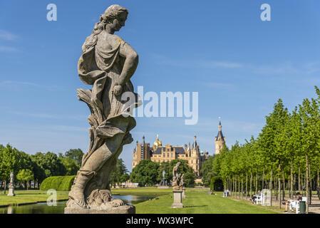 sculpture, palace gardens, Schwerin castle, Schwerin, Mecklenburg-Western Pomerania, Germany, Europe - Stock Photo