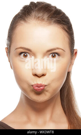 bright closeup portrait picture of funny teenage girl - Stock Photo