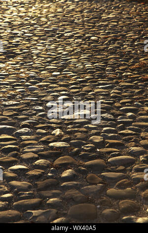 medieval street pavement in the evening light - Stock Photo