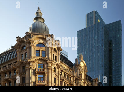 Architectural contrast in the Westend, Frankfurt am Main, Hesse, Germany, Europe - Stock Photo