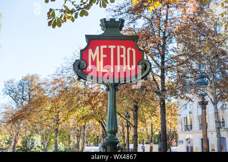 Metro subway station sign in Paris - Stock Photo