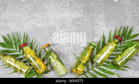 Detox drinks,  palm leaves,  Mojito, rosemary, summer, healthy - Stock Photo