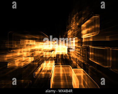 Virtual Construction Series.  Backdrop composed of rectangular design elements in perspective and suitable for use in the projects on science, compute - Stock Photo