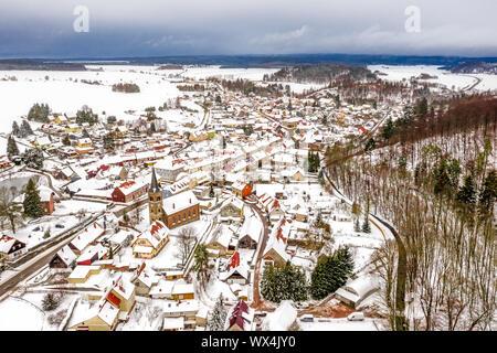 Güntersberge in the Harz Mountains Winter - Stock Photo