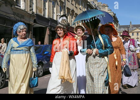 Grand Regency Costumed Promenade, Jane Austen Festival, Milsom Street, Bath, Somerset, England, Great Britain, United Kingdom UK, Europe - Stock Photo