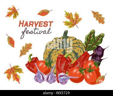 Harvest Festival. Different vegetables and autumn leaves isolated on white background, Flat hand drawing vector Stock Photo