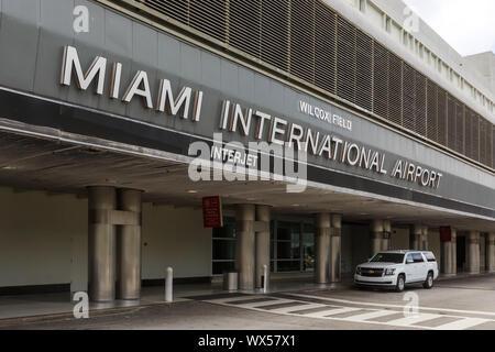 Miami, Florida – April 3, 2019: Terminal of Miami airport (MIA) in the United States. - Stock Photo