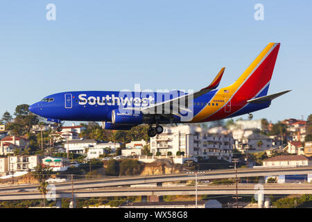 San Diego, California – April 13, 2019: Southwest Airlines Boeing 737-700 airplane at San Diego airport (SAN) in the United States. - Stock Photo