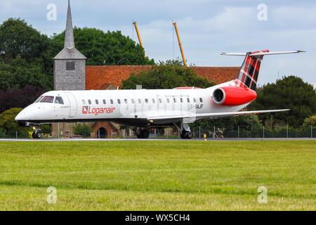 Southend, United Kingdom – July 7, 2019: Loganair Embraer ERJ 145 airplane at Southend Airport (SEN) in the United Kingdom. - Stock Photo