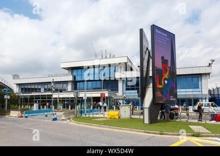 London, United Kingdom – July 7, 2019: Terminal of London City Airport (LCY) in the United Kingdom. - Stock Photo