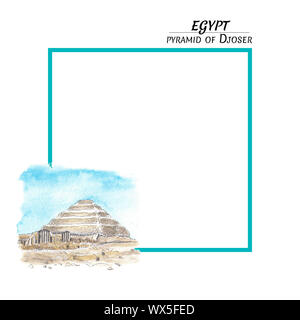 Greeting card with the Egyptian pyramid of Djoser in a watercolor style and a turquoise frame on a white background. Square mock up, template for gree - Stock Photo