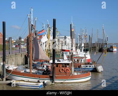 Harbor of Ditzum at North sea,East Frisia,lower Saxony,Germany - Stock Photo