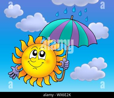Sun with umbrella on cloudy sky - color illustration. - Stock Photo