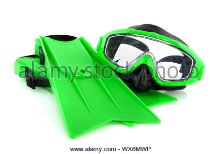 Green scuba gear for playing by kids - Stock Photo