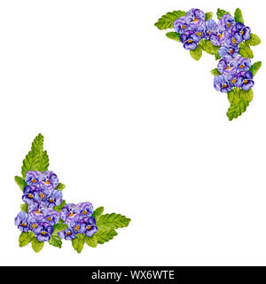 Watercolor bouquets of pansies in the form of a frame. - Stock Photo
