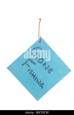"""Isolated image of a blue paper with """"Gone Fishing"""" text caught in a hook against white background - Stock Photo"""