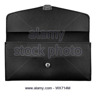 Women black wallet. Stylish leather open wallet isolated on white background, clipping path included - Stock Photo