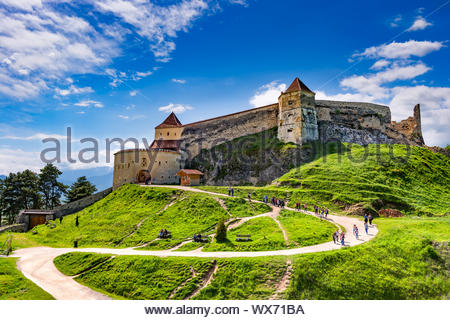 Rasnov, Romania - May, 2017: Wide view of the inner courtyard of the Rasnov citadel in Brasov county (Romania) - Stock Photo
