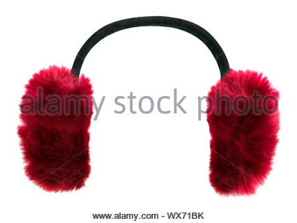 Dark red winter earmuffs isolated on white background - Stock Photo