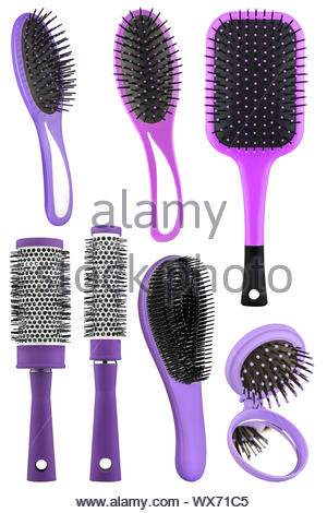 Set of several hair comb brushes for women of different sizes and colors, with handle and mirror, isolated on transparent or whi - Stock Photo