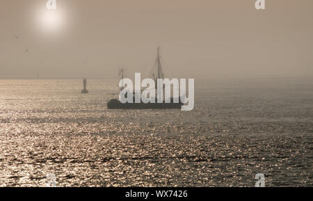 Shrimp Boat in Wattenmeer National Park,North Sea,Germany - Stock Photo