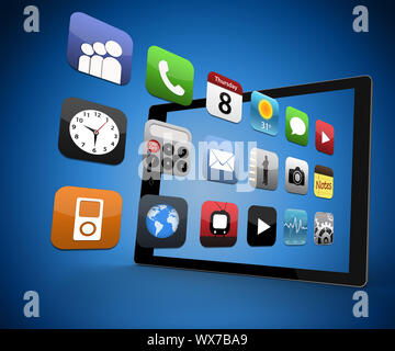 Applications coming out from digital tablet on blue background - Stock Photo